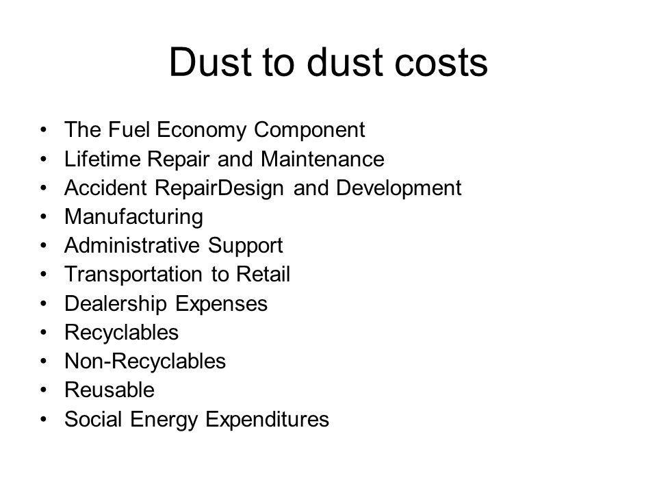 Dust to dust costs The Fuel Economy Component