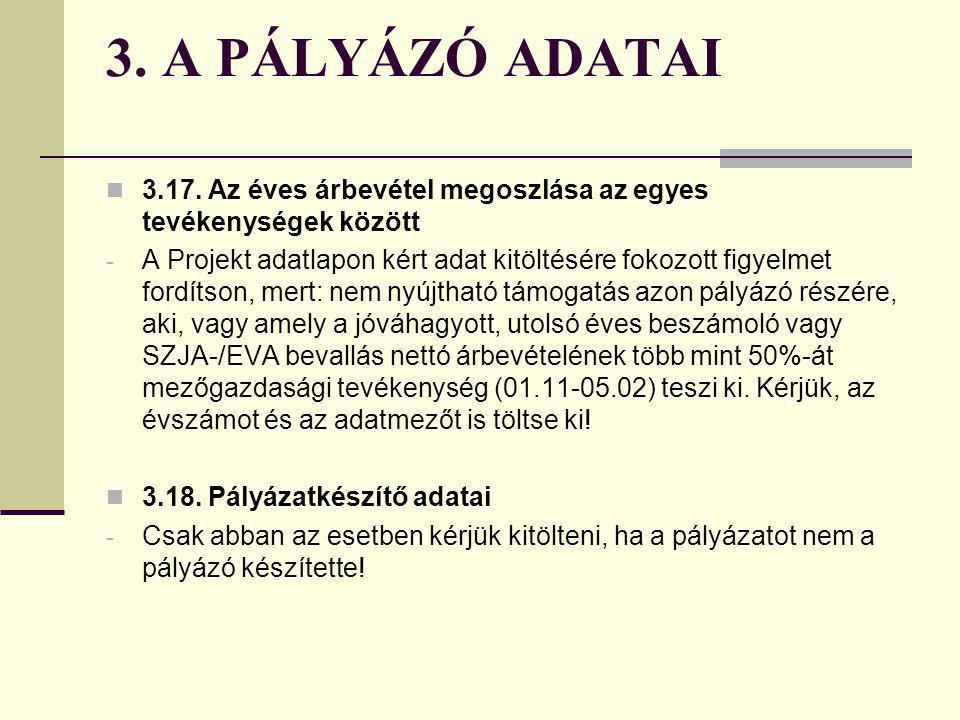 3. A PÁLYÁZÓ ADATAI 3.17. Az éves árbevétel megoszlása az egyes tevékenységek között.