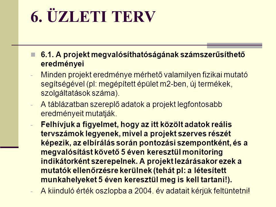 6. ÜZLETI TERV 6.1. A projekt megvalósíthatóságának számszerűsíthető eredményei.