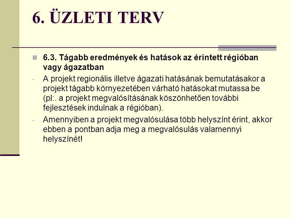 6. ÜZLETI TERV 6.3. Tágabb eredmények és hatások az érintett régióban vagy ágazatban.