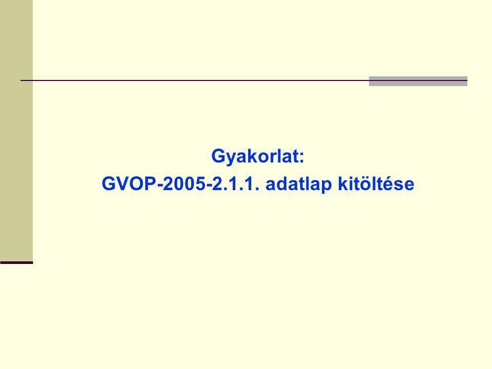 GVOP-2005-2.1.1. adatlap kitöltése
