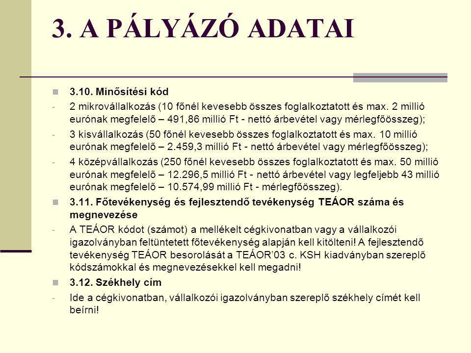 3. A PÁLYÁZÓ ADATAI 3.10. Minősítési kód