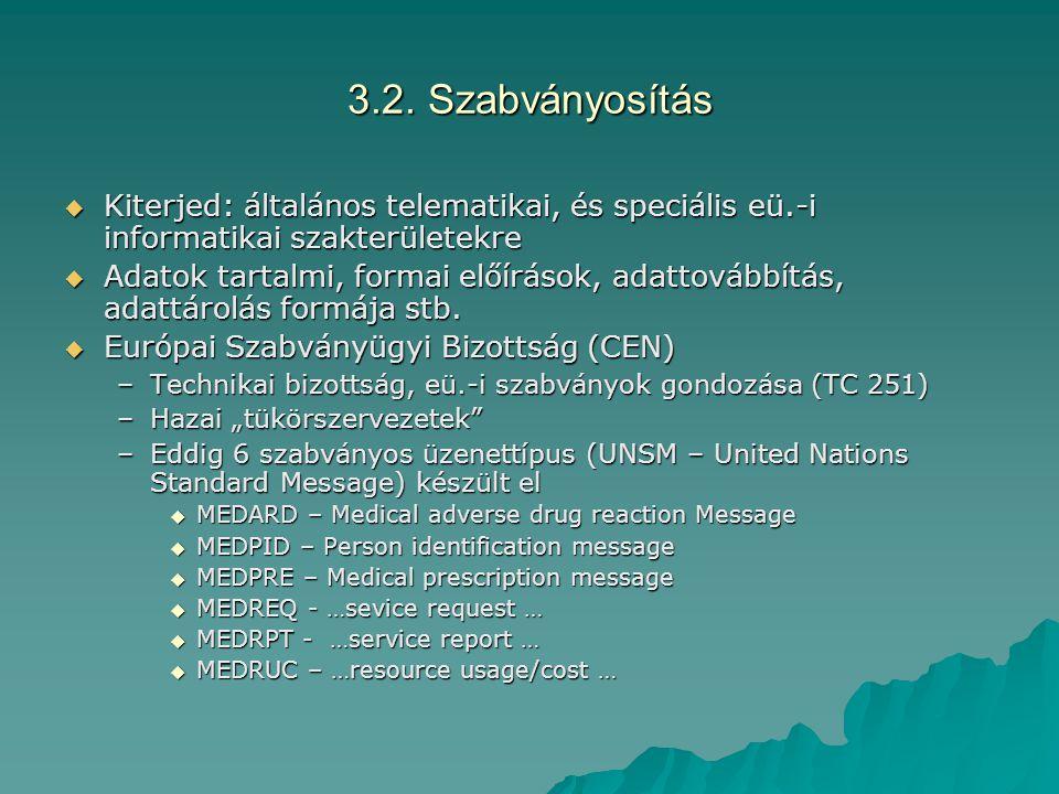 3.2. Szabványosítás Kiterjed: általános telematikai, és speciális eü.-i informatikai szakterületekre.