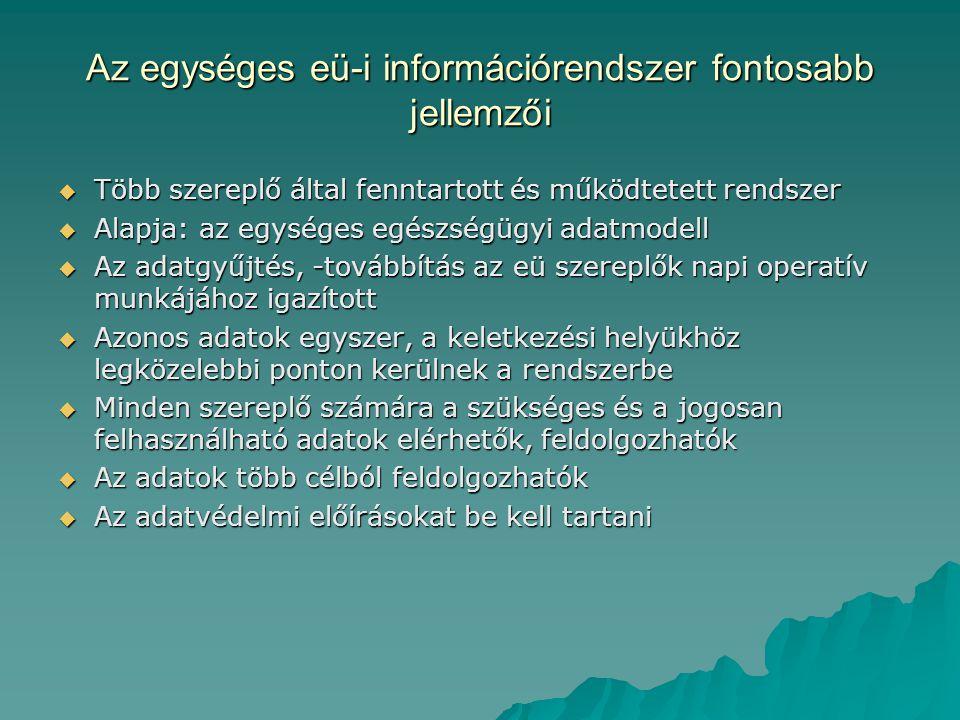Az egységes eü-i információrendszer fontosabb jellemzői
