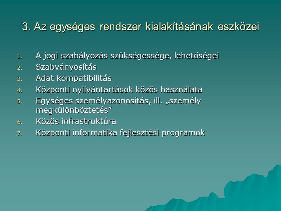 3. Az egységes rendszer kialakításának eszközei
