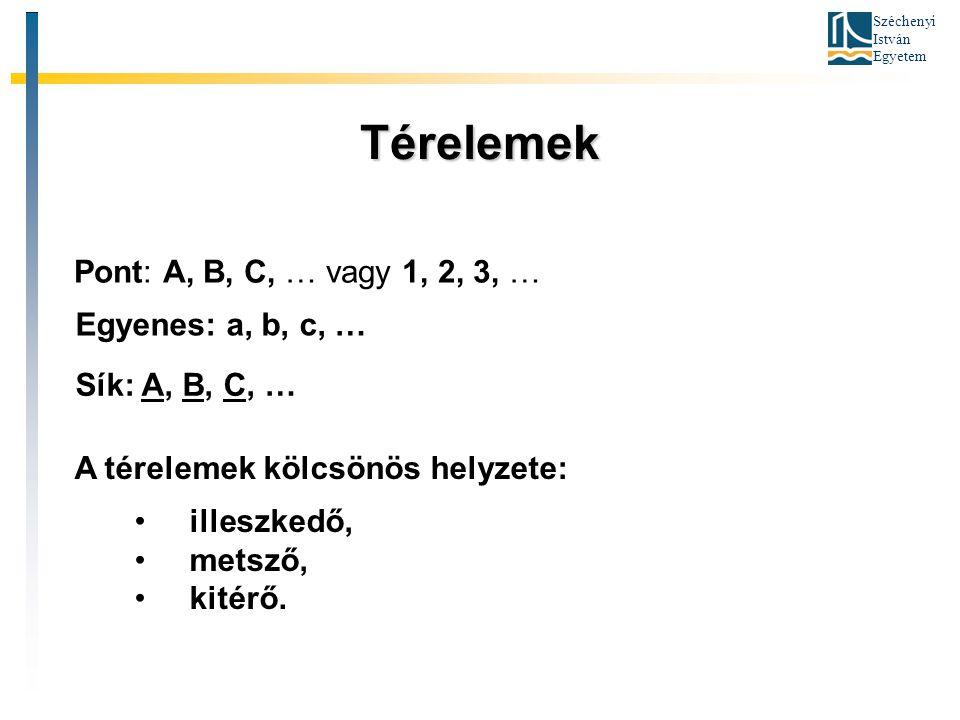 Térelemek Pont: A, B, C, … vagy 1, 2, 3, … Egyenes: a, b, c, …