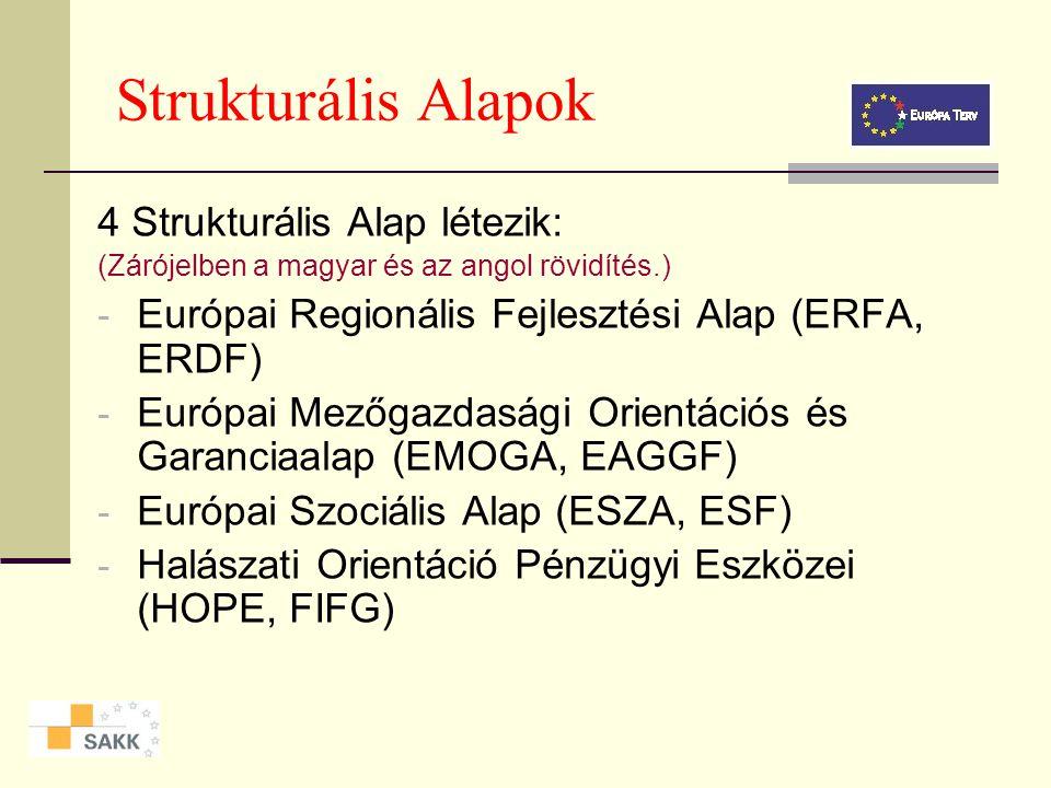 Strukturális Alapok 4 Strukturális Alap létezik: