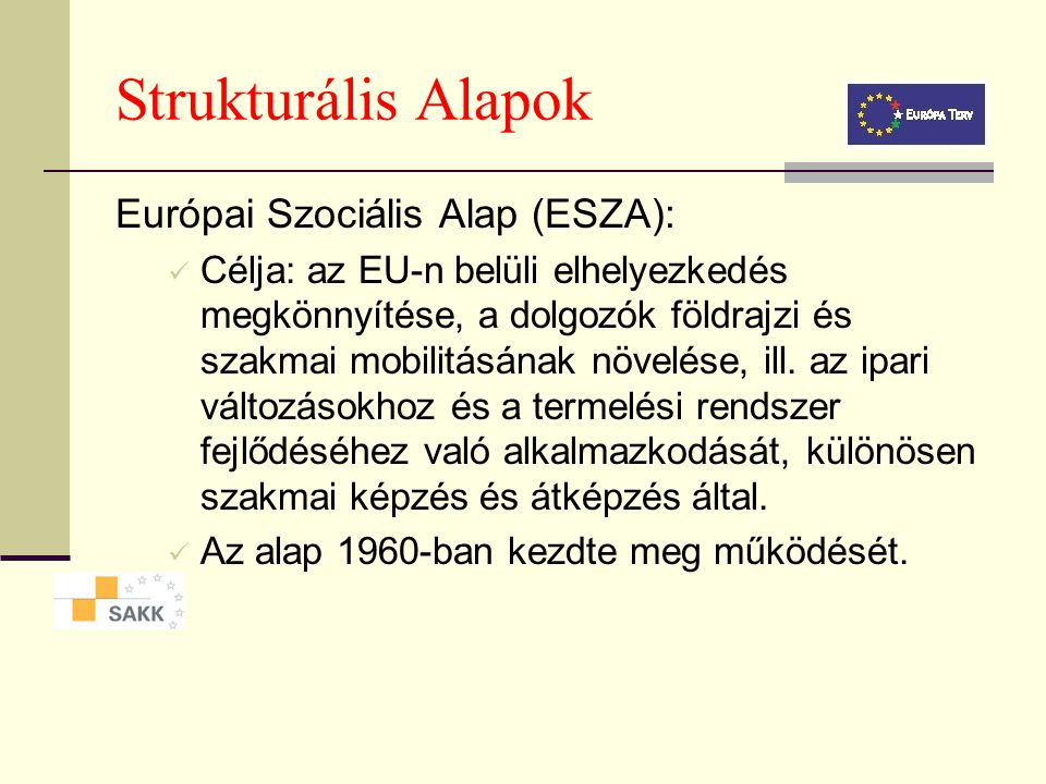 Strukturális Alapok Európai Szociális Alap (ESZA):
