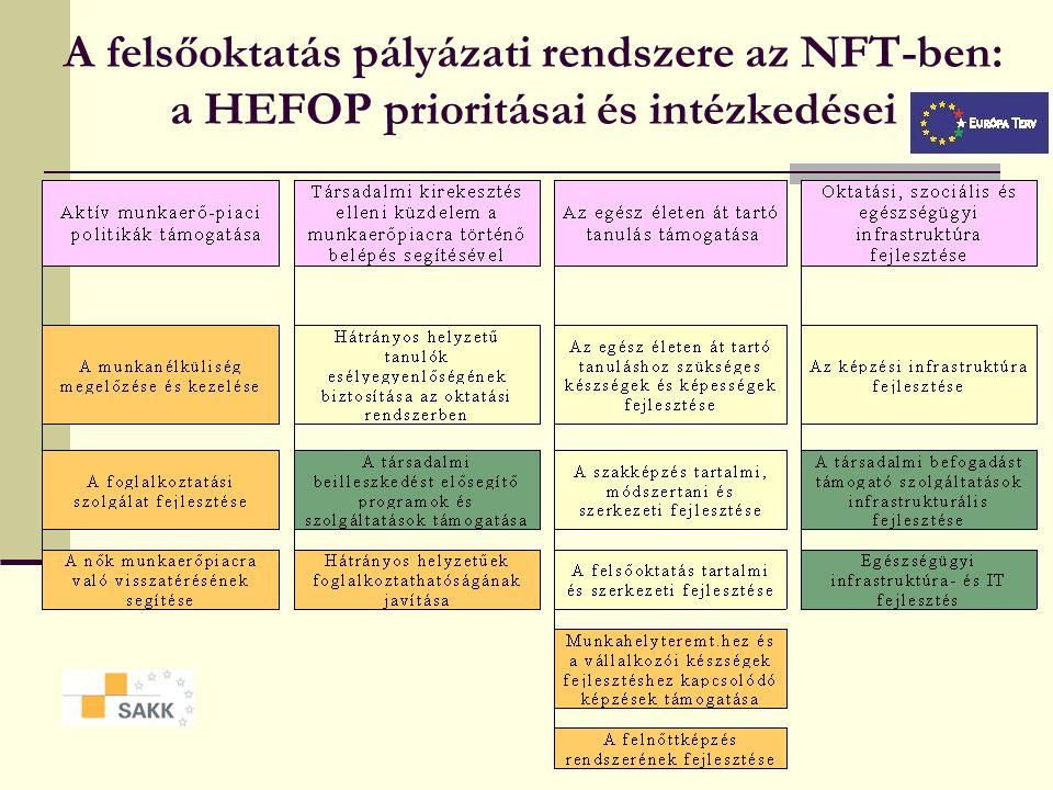 A felsőoktatás pályázati rendszere az NFT-ben: a HEFOP prioritásai és intézkedései