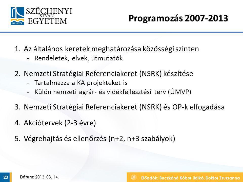 Programozás 2007-2013 Az általános keretek meghatározása közösségi szinten. Rendeletek, elvek, útmutatók.