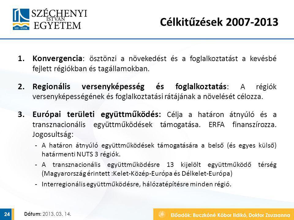 Célkitűzések 2007-2013 Konvergencia: ösztönzi a növekedést és a foglalkoztatást a kevésbé fejlett régiókban és tagállamokban.