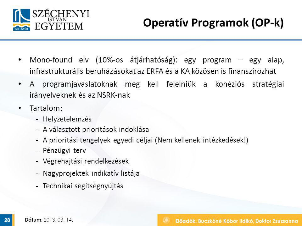 Operatív Programok (OP-k)