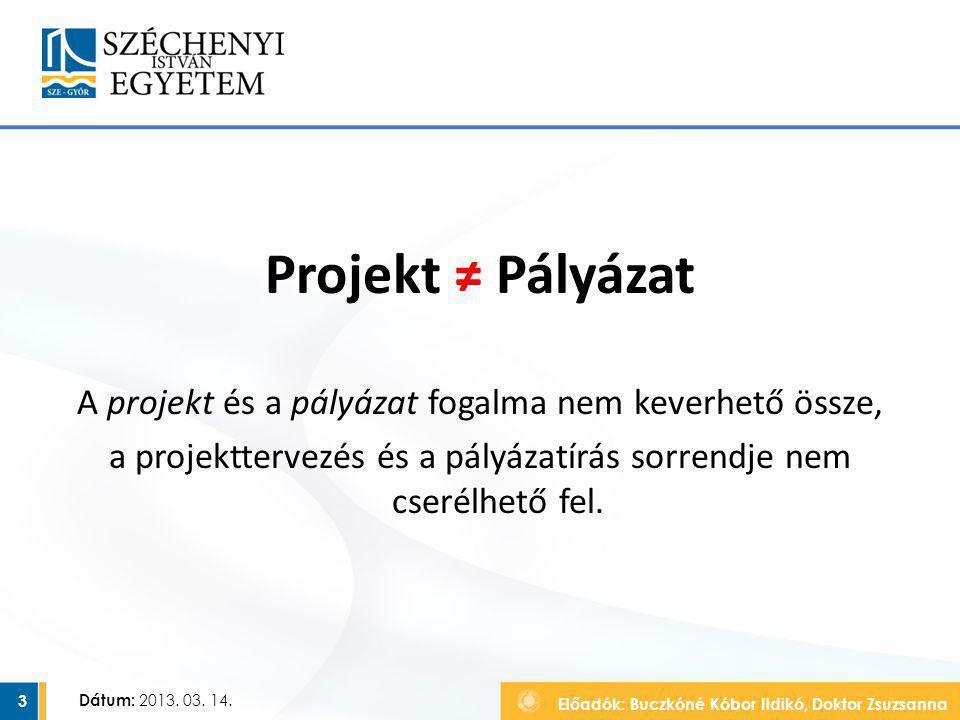Projekt ≠ Pályázat A projekt és a pályázat fogalma nem keverhető össze, a projekttervezés és a pályázatírás sorrendje nem cserélhető fel.