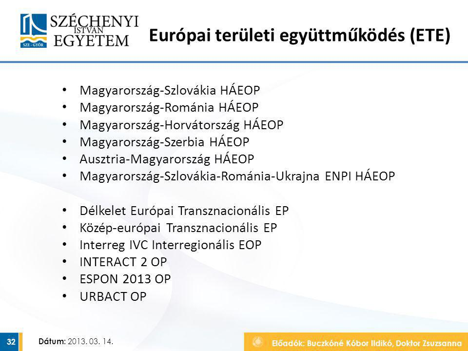 Európai területi együttműködés (ETE)