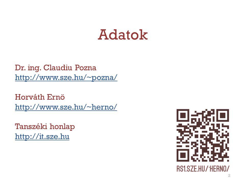 Adatok Dr. ing. Claudiu Pozna http://www.sze.hu/~pozna/ Horváth Ernö