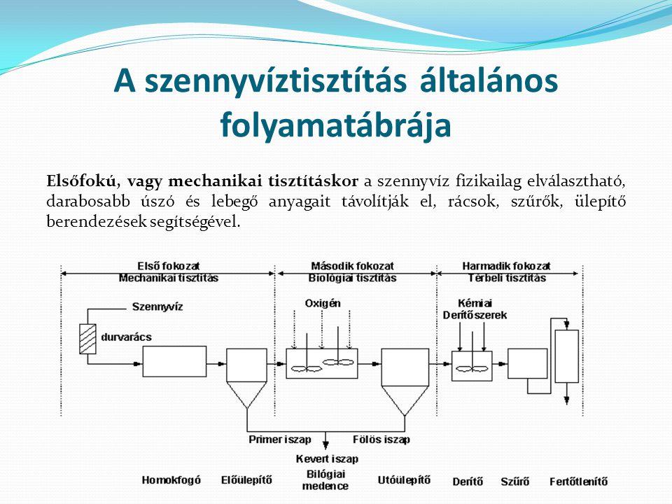 A szennyvíztisztítás általános folyamatábrája