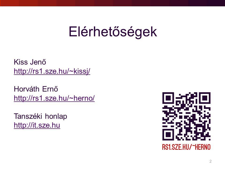 Elérhetőségek Kiss Jenő http://rs1.sze.hu/~kissj/ Horváth Ernő