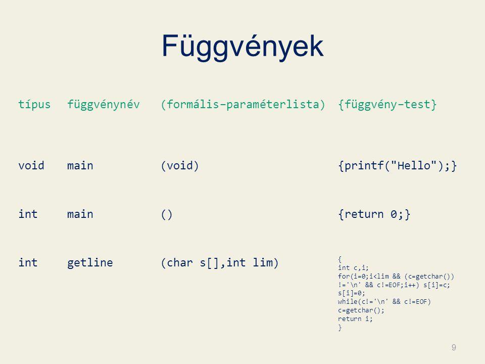 Függvények típus függvénynév (formális–paraméterlista) {függvény–test}