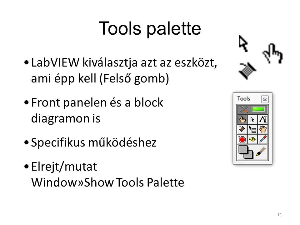 Tools palette LabVIEW kiválasztja azt az eszközt, ami épp kell (Felső gomb) Front panelen és a block diagramon is.