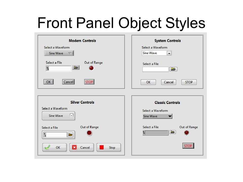 Front Panel Object Styles