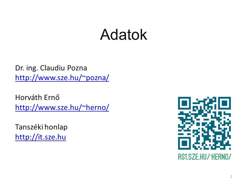 Adatok Dr. ing. Claudiu Pozna http://www.sze.hu/~pozna/ Horváth Ernő