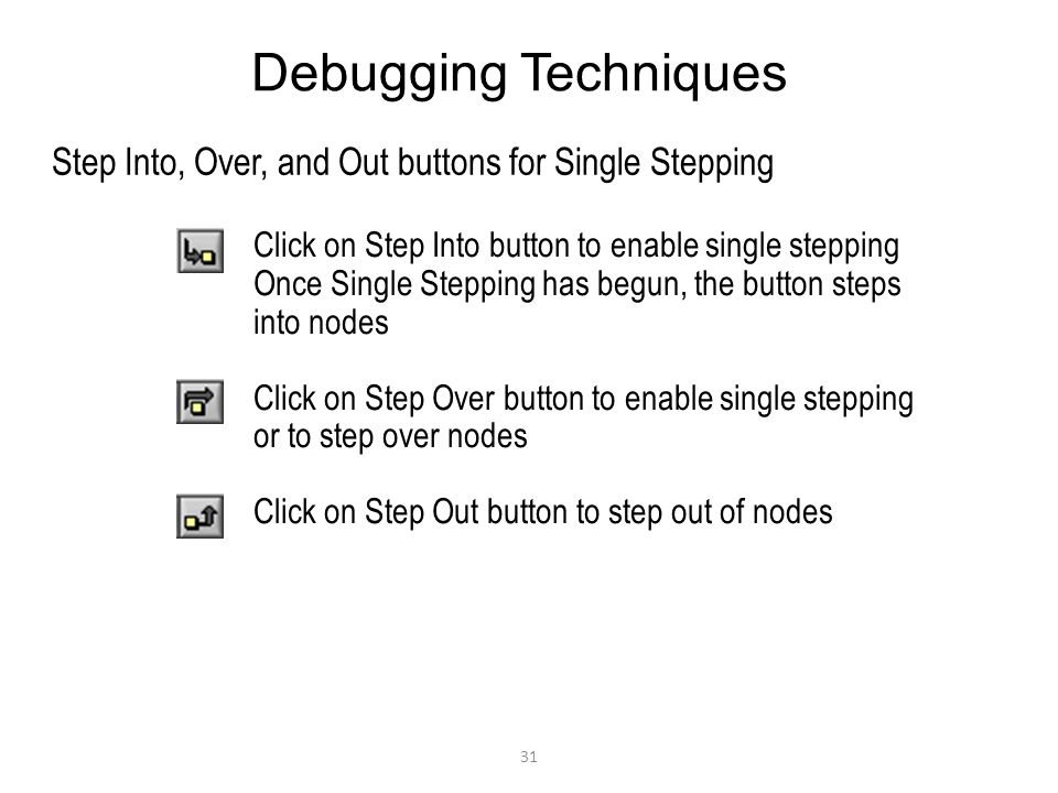 Debugging Techniques Step Into, Over, and Out buttons for Single Stepping. Click on Step Into button to enable single stepping.