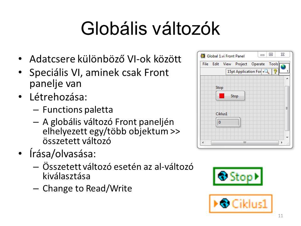 Globális változók Adatcsere különböző VI-ok között