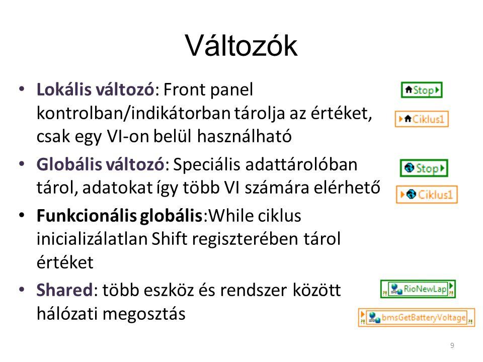 Változók Lokális változó: Front panel kontrolban/indikátorban tárolja az értéket, csak egy VI-on belül használható.