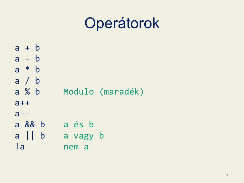 Operátorok a + b a - b a * b a / b a % b Modulo (maradék) a++ a-- a && b a és b a || b a vagy b !a nem a