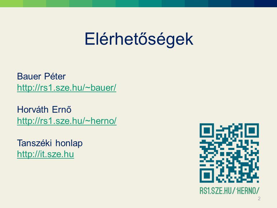 Elérhetőségek Bauer Péter http://rs1.sze.hu/~bauer/ Horváth Ernő