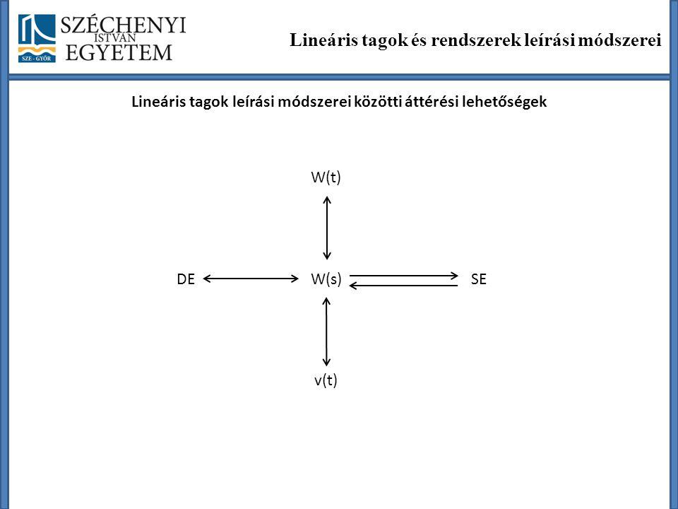 Lineáris tagok leírási módszerei közötti áttérési lehetőségek