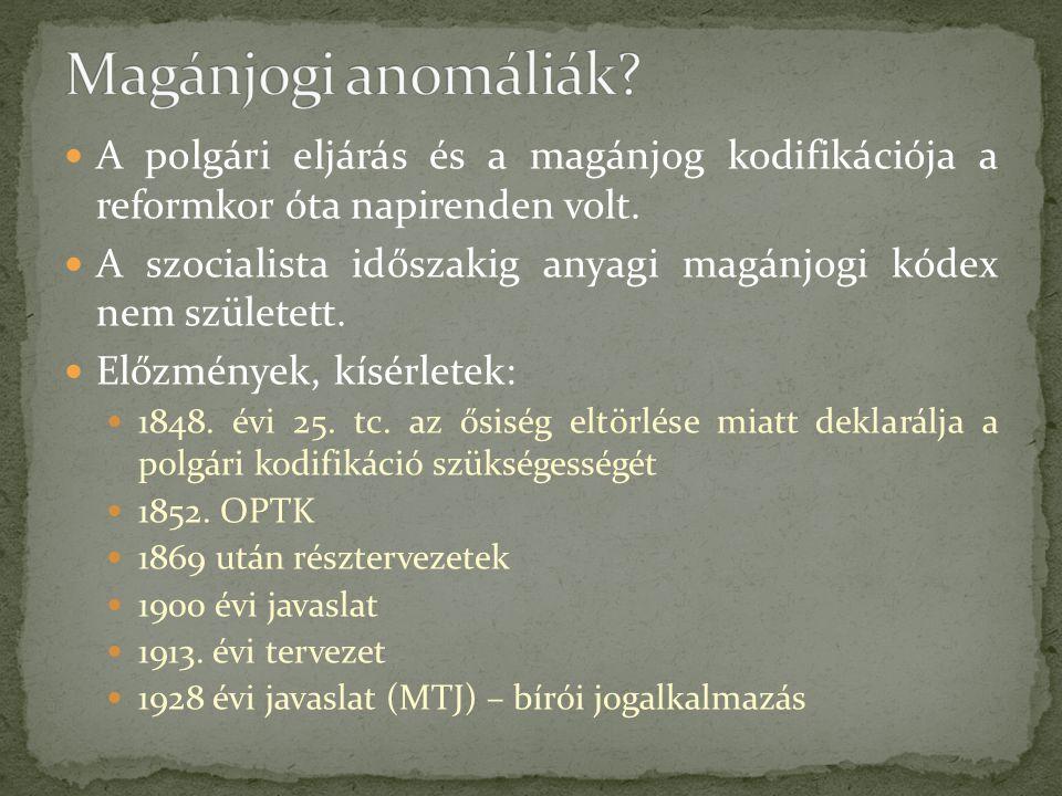 Magánjogi anomáliák A polgári eljárás és a magánjog kodifikációja a reformkor óta napirenden volt.