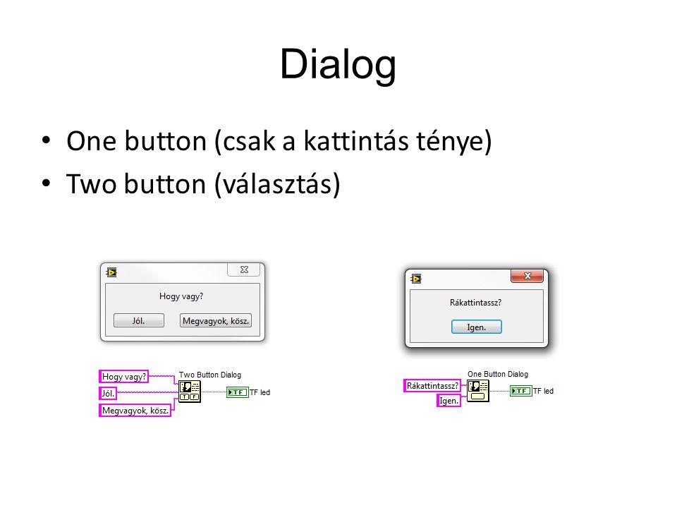 Dialog One button (csak a kattintás ténye) Two button (választás)
