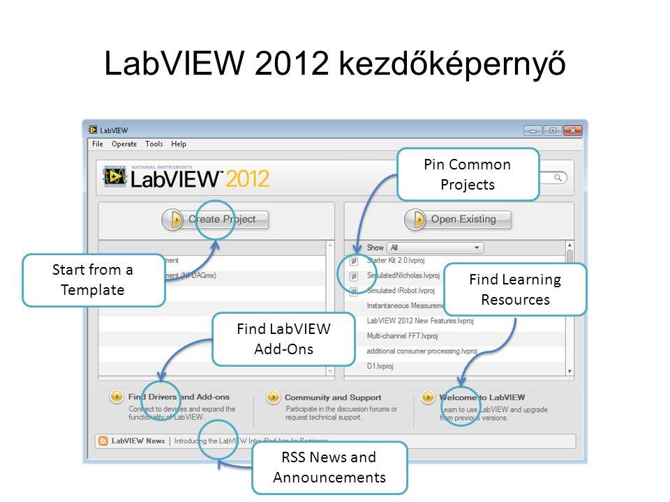 LabVIEW 2012 kezdőképernyő