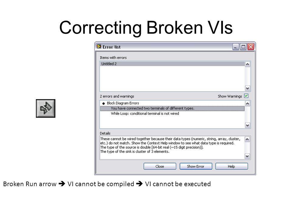 Correcting Broken VIs