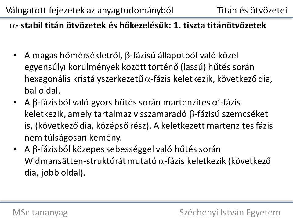 Válogatott fejezetek az anyagtudományból Titán és ötvözetei