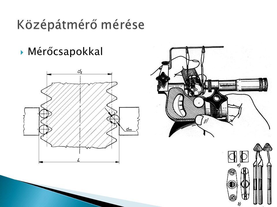 Középátmérő mérése Mérőcsapokkal