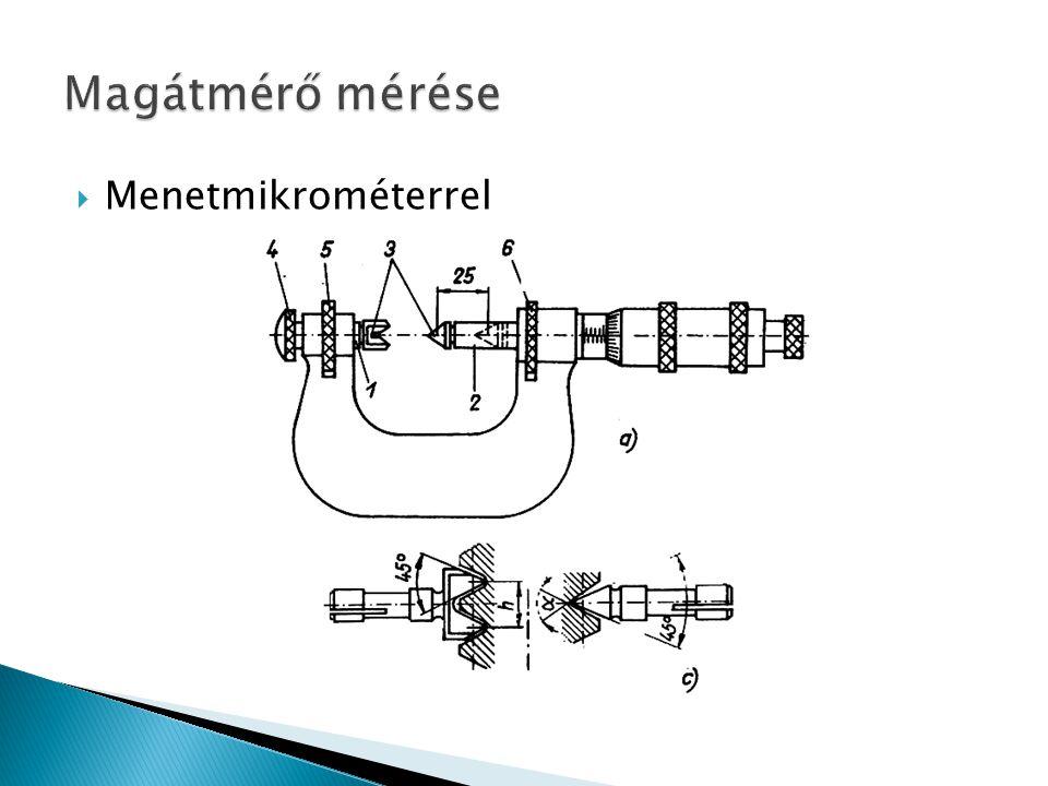 Magátmérő mérése Menetmikrométerrel