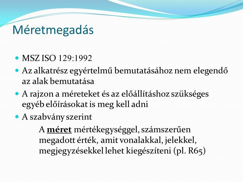 Méretmegadás MSZ ISO 129:1992. Az alkatrész egyértelmű bemutatásához nem elegendő az alak bemutatása.