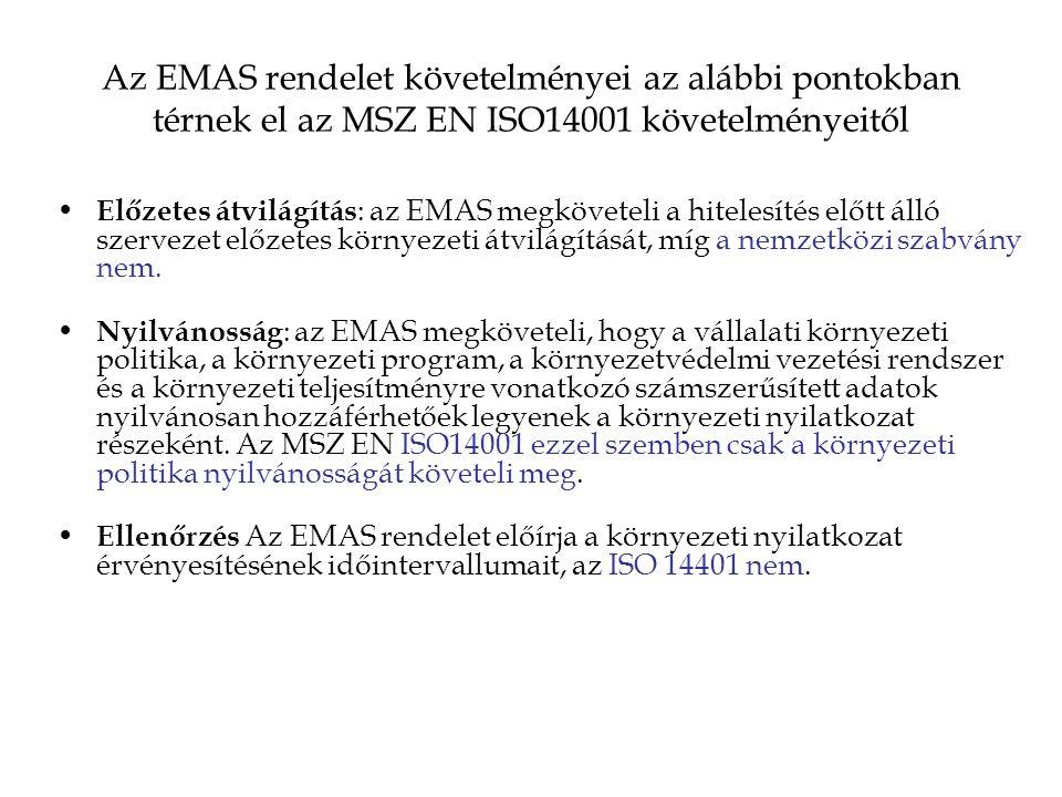Az EMAS rendelet követelményei az alábbi pontokban térnek el az MSZ EN ISO14001 követelményeitől