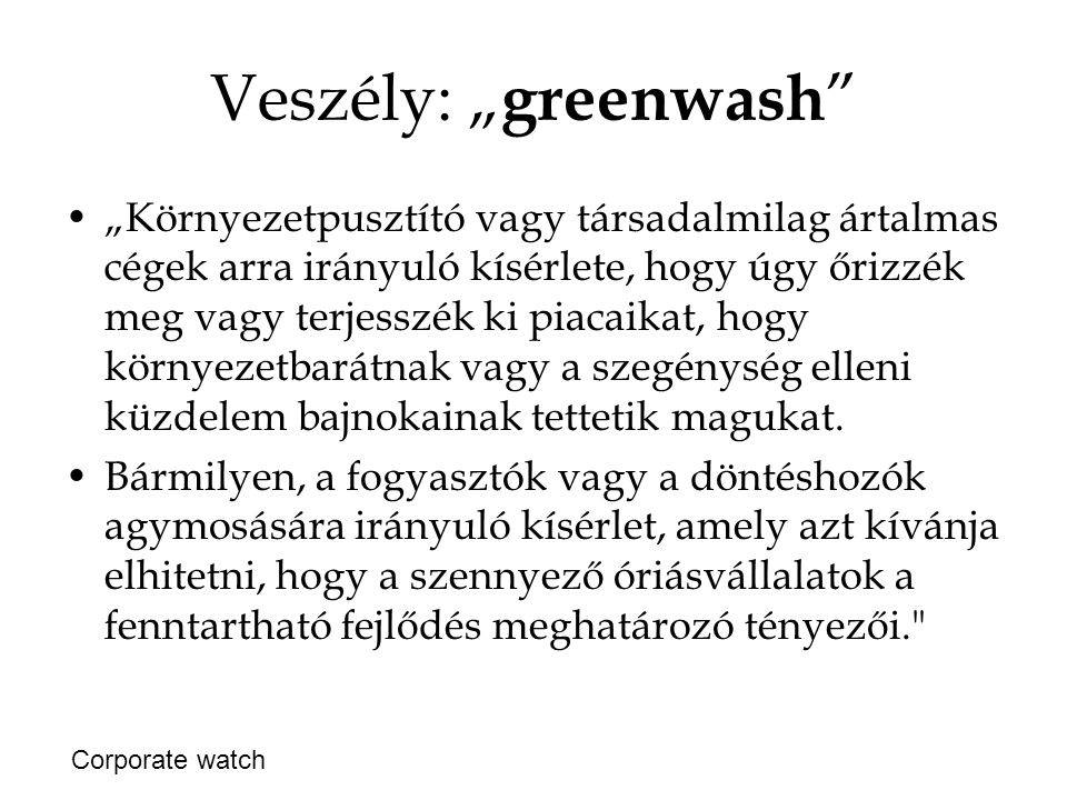 """Veszély: """"greenwash"""