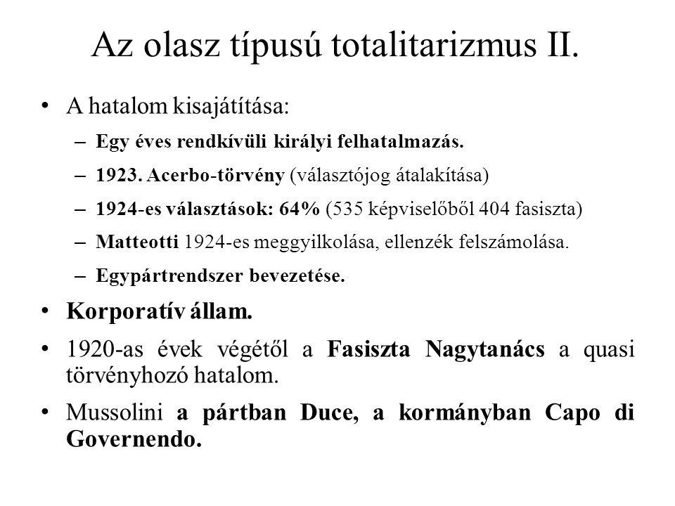 Az olasz típusú totalitarizmus II.