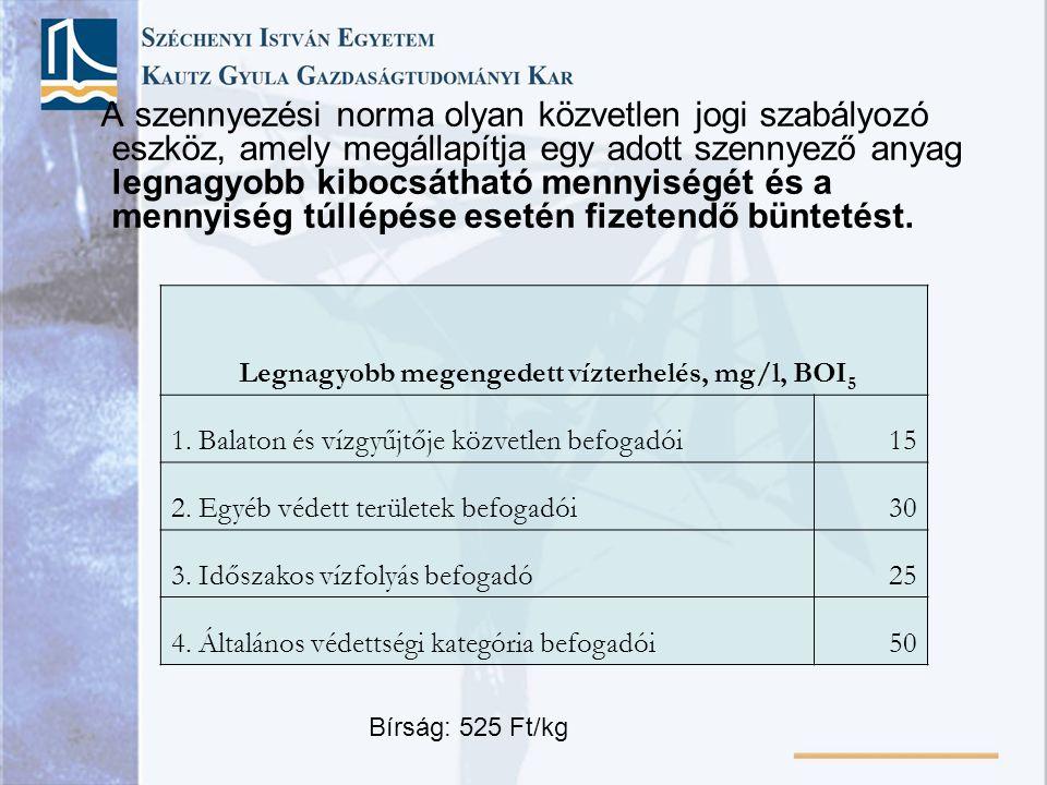 Legnagyobb megengedett vízterhelés, mg/l, BOI5