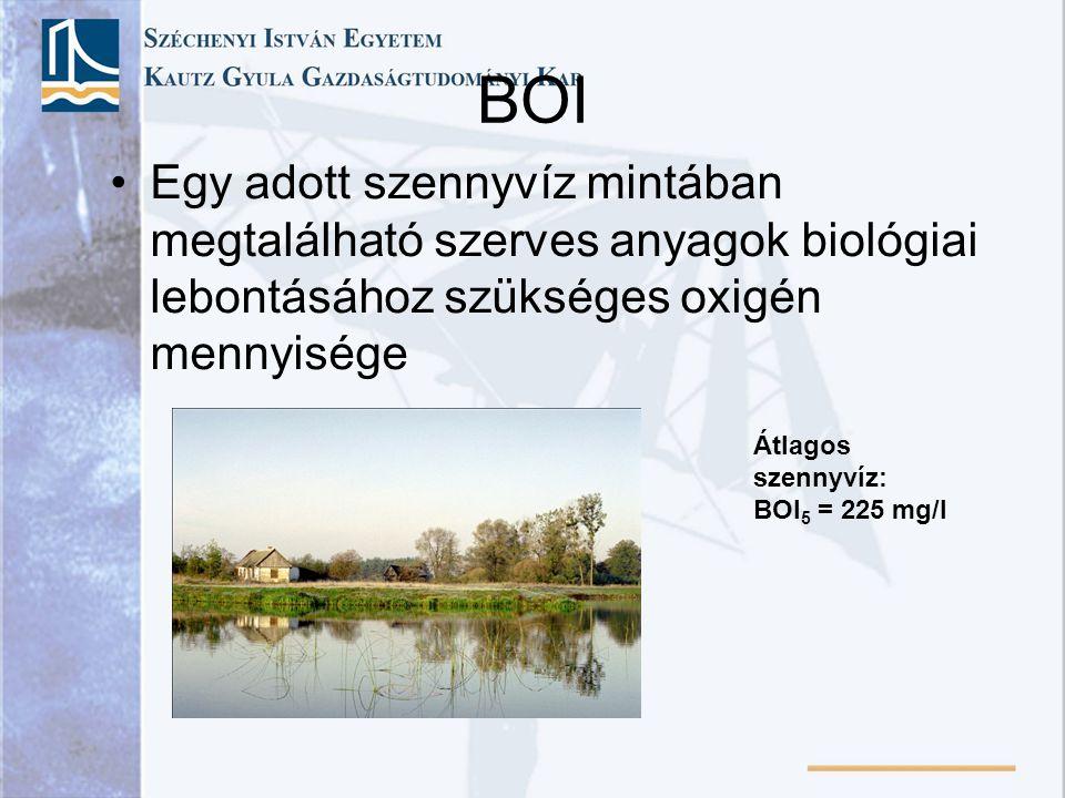BOI Egy adott szennyvíz mintában megtalálható szerves anyagok biológiai lebontásához szükséges oxigén mennyisége.
