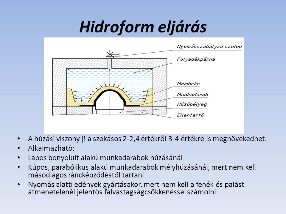 Hidroform eljárás A húzási viszony  a szokásos 2-2,4 értékről 3-4 értékre is megnövekedhet. Alkalmazható: