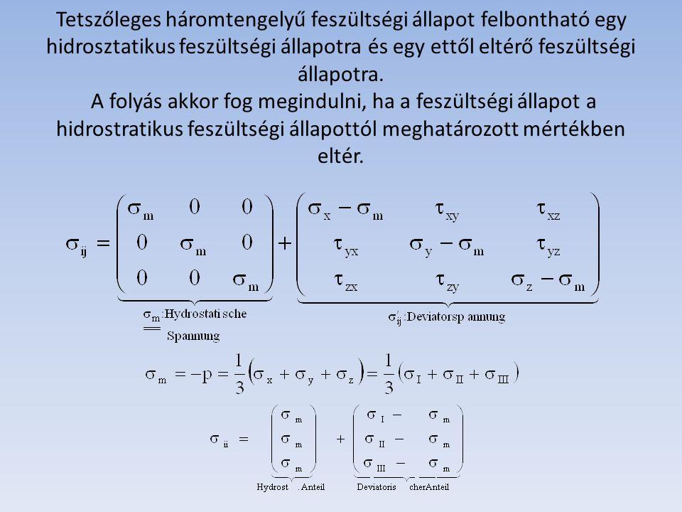 Tetszőleges háromtengelyű feszültségi állapot felbontható egy hidrosztatikus feszültségi állapotra és egy ettől eltérő feszültségi állapotra.