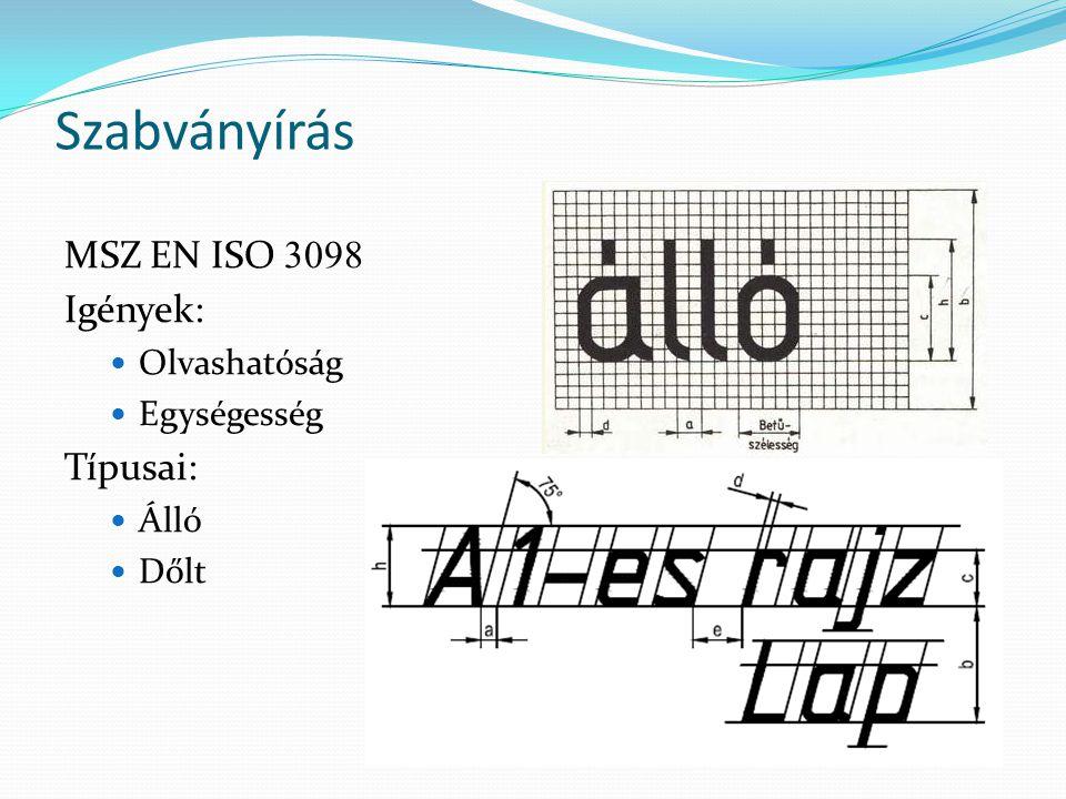 Szabványírás MSZ EN ISO 3098 Igények: Típusai: Olvashatóság
