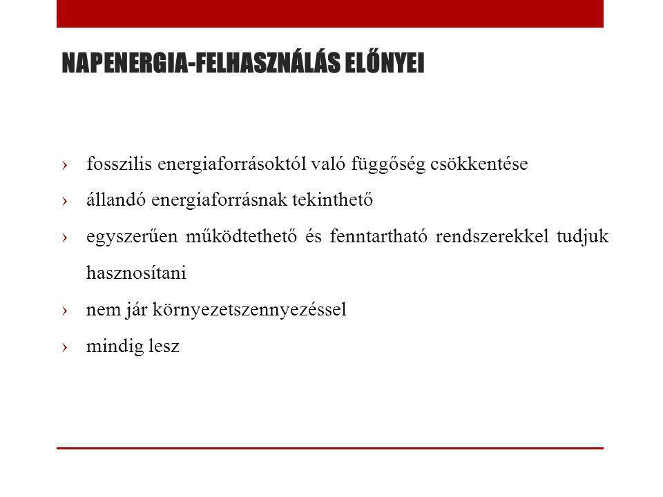 NAPENERGIA-FELHASZNÁLÁS ELŐNYEI