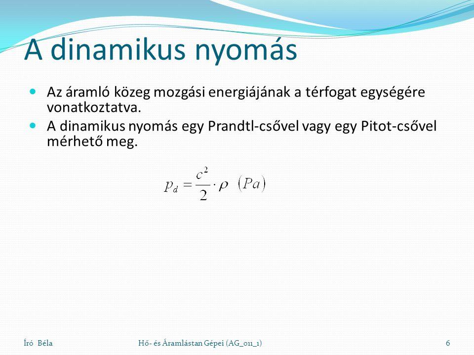 A dinamikus nyomás Az áramló közeg mozgási energiájának a térfogat egységére vonatkoztatva.