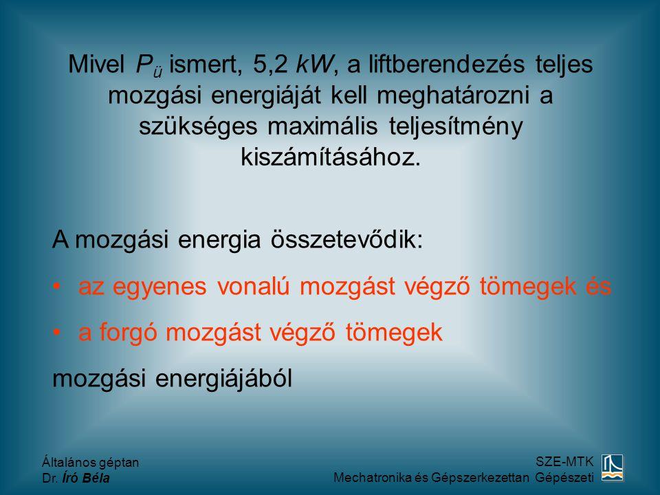 Mivel Pü ismert, 5,2 kW, a liftberendezés teljes mozgási energiáját kell meghatározni a szükséges maximális teljesítmény kiszámításához.